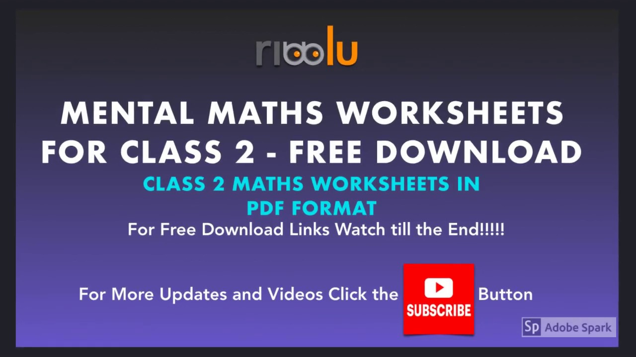 Mental Maths Worksheets for Class 2   Grade 2 Maths Practice - YouTube [ 720 x 1280 Pixel ]
