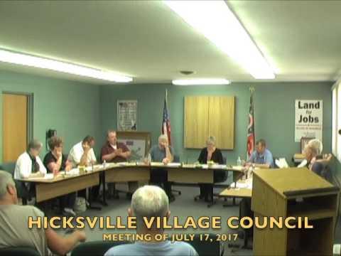 Hicksville Village Council Meeting 7-17-17