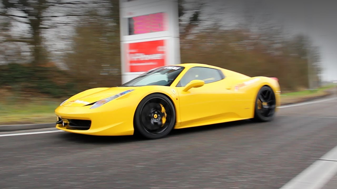 Yellow Ferrari 458 Spider w/ Sport Exhaust pipe! - YouTube