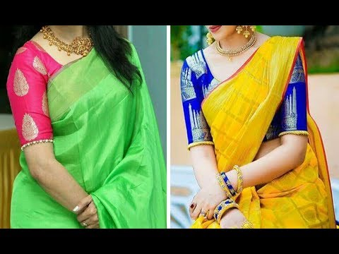 Beautiful And Royal Look With Brocade Blouse Design Collection 2019 |Brocade Blouse With Plain Saree