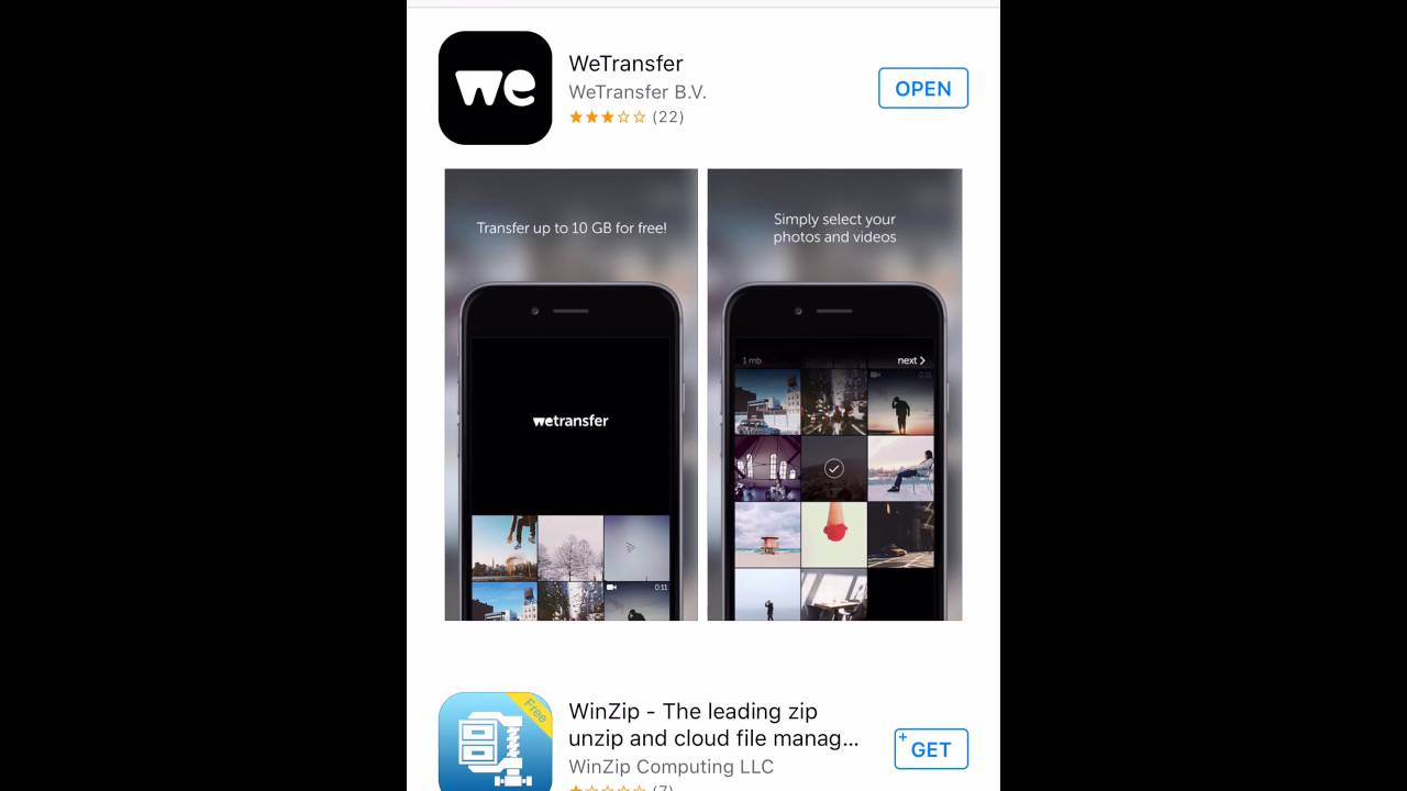 un video da wetransfer su iphone
