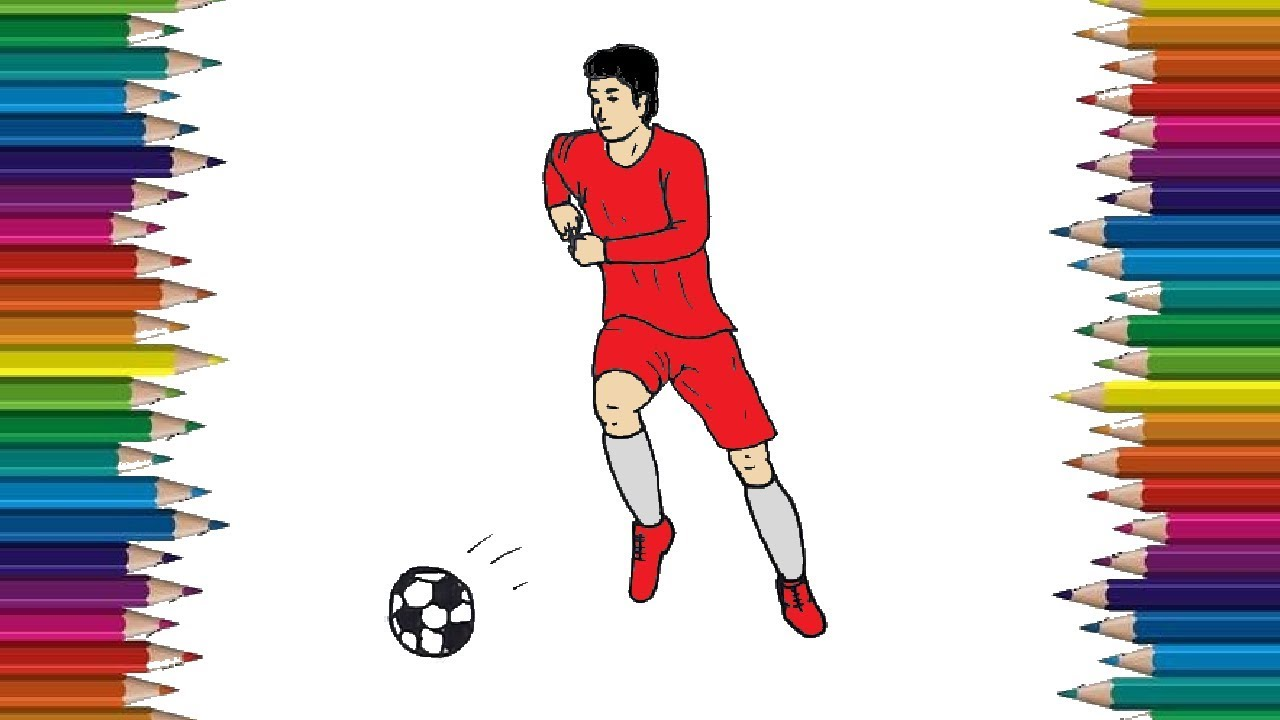 How To Draw A Football Player Step By Step Football Player Drawing And Coloring Youtube