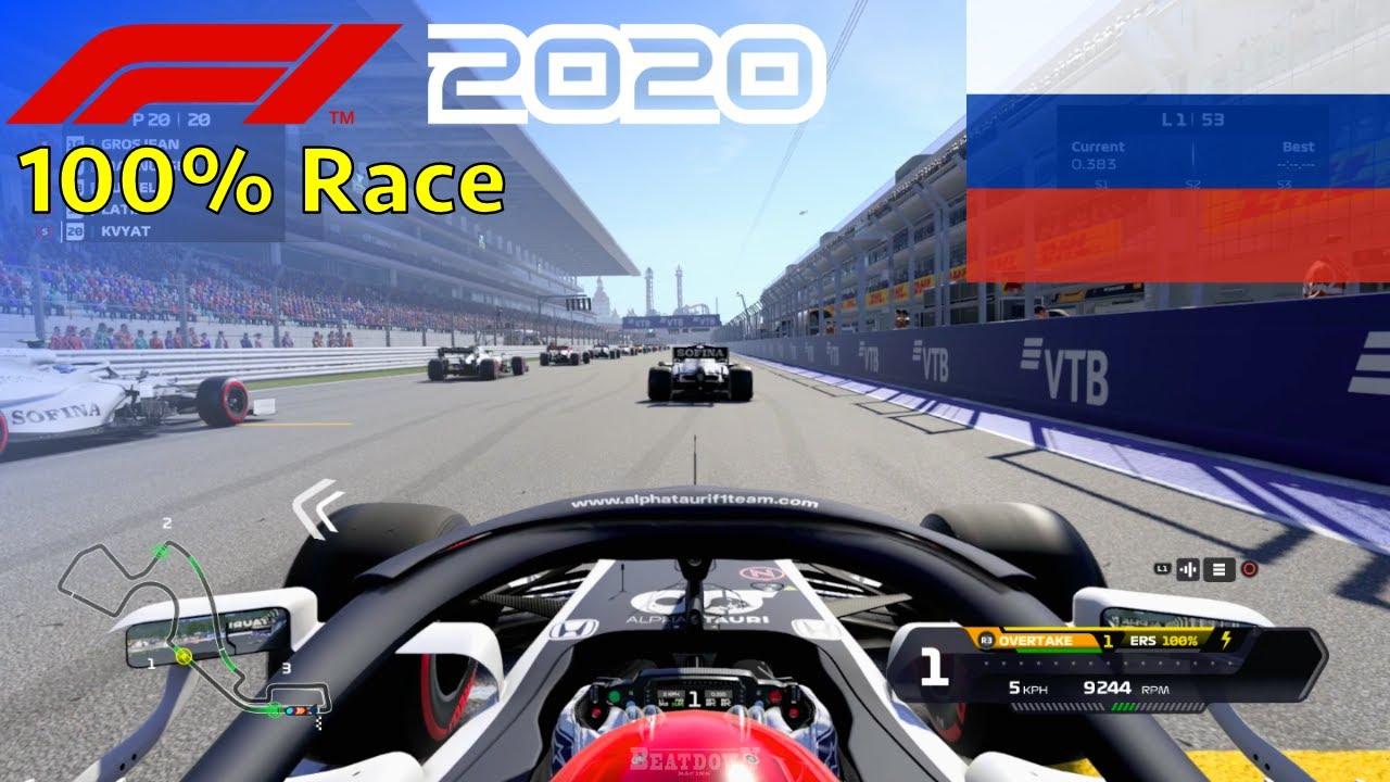 F1 2020 - 100% Race at Sochi Autodrom, Russia in Kvyat's AlphaTauri