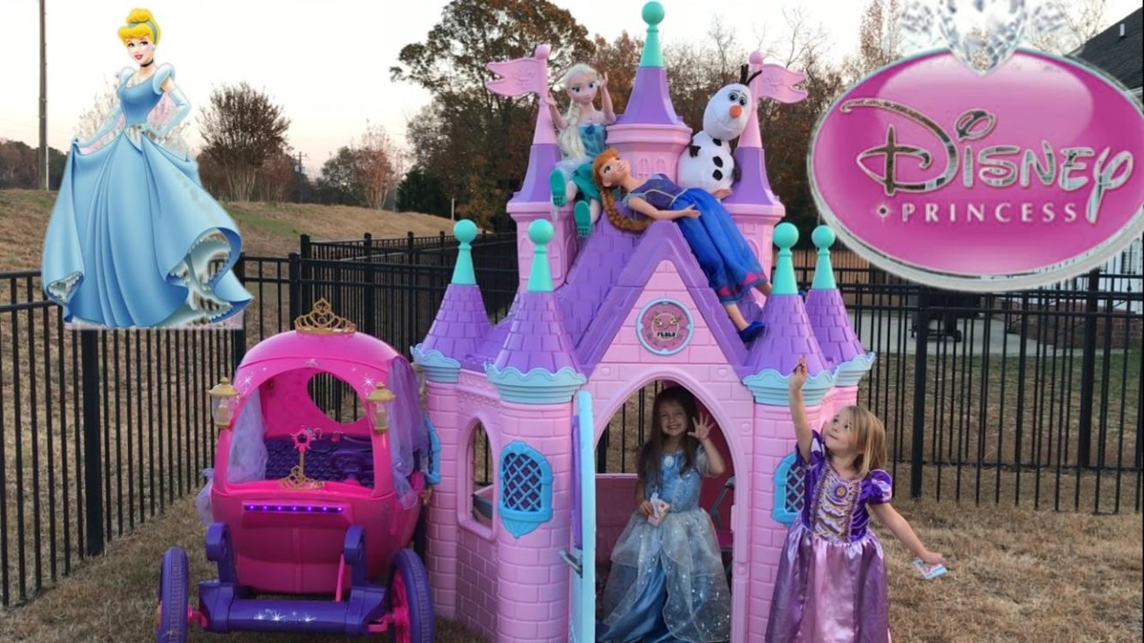 Disney Princess Castle Carriage Tea Party Elsa Anna Cinderella     Disney Princess Castle Carriage Tea Party Elsa Anna Cinderella Rapunzel    YouTube
