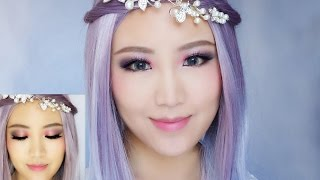Colourful Fairy Dolly Makeup Tutorial/Cosplay Grey Purple Hair Makeup