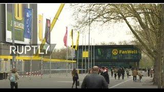 LIVE outside Borussia Dortmund's stadium day after blasts hit team bus