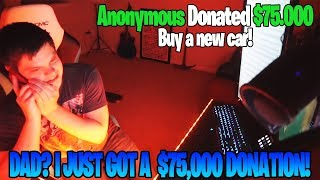 Fortnite Streamer Gets $75,000 Donation! *TWITCH RECORD*