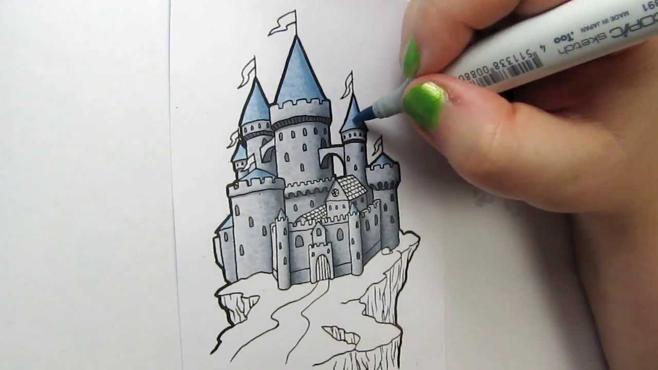 castle on a cliff copic speed coloring youtube - Castles Pictures To Colour