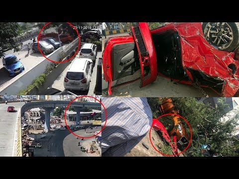 Car Falls Off From Biodiversity Flyover In Hyderabad | Car Accident Live | NewsGlitz Telugu