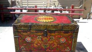 Tibetan Red Base Fu Dog Paint Wood Trunk Table S1949m