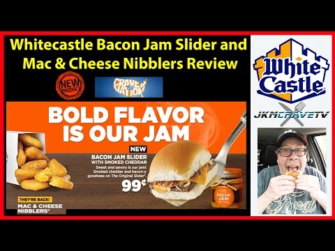 Whitecastle NEW Bacon Jam Slider And Mac & Cheese Nibblers Review | JKMCraveTV