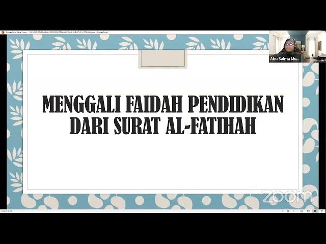 MEMETIK FAIDAH PENDIDIKAN DARI SURAT AL-FATIHAH