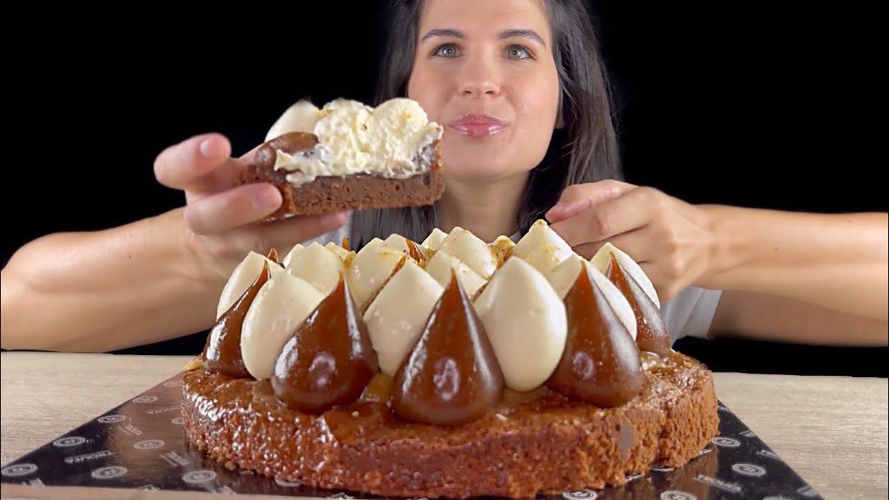 SALTED CARAMEL WHITE CHOCOLATE BROWNIES   ASMR   MUKBANG   EATING SOUNDS