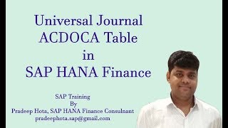 Universal Journal in SAP S/4HANA Finance | SAP ACDOCA Table | SAP Simple Finance Online Training
