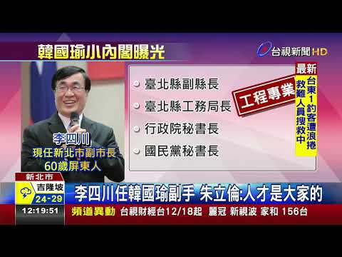 李四川任韓國瑜副手朱立倫:人才是大家的