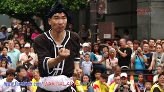 Naha Great Tug-of-War Festival. Karate demonstration. Kyokushin kar...