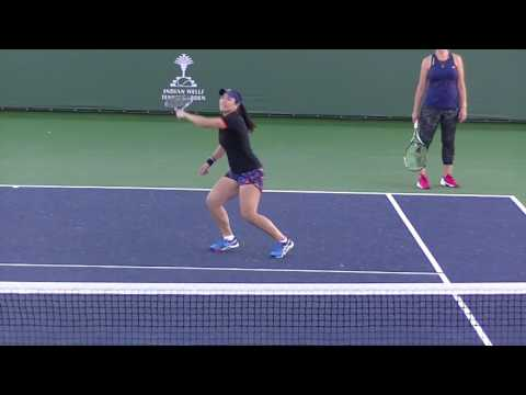 Martina Hingis and Chan Yung-Jan having fun practicing left-handed tennis at Indian Wells 2017