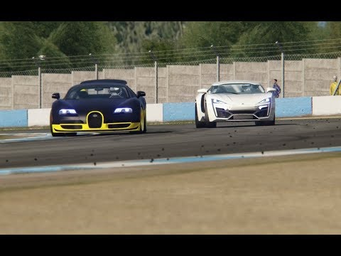 W Motors Lykan Hyperspot vs Bugatti Veyron 16.4 Super Sport at Donington Park