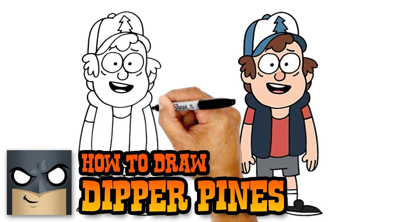 How to draw Dipper from Gravity Falls. Step-by-step instruction 34