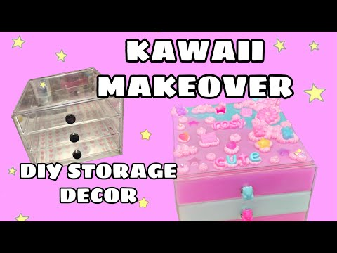 DIY kawaii resin and decoden storage makeover