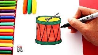 Cómo dibujar un TAMBOR fácil (paso a paso)   Dibujos de Instrumentos Musicales
