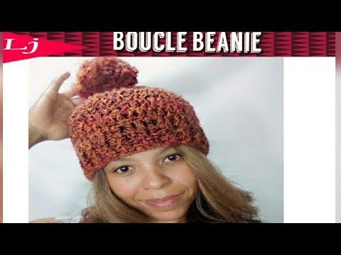 Boucle yarn Crochet Hat Pattern - Homespun yarn project