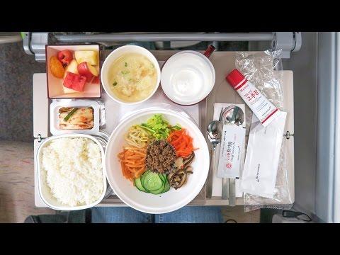 Korean Airplane Food ♦ Bibimbap On Asiana Flight OZ741 From Seoul To Bangkok