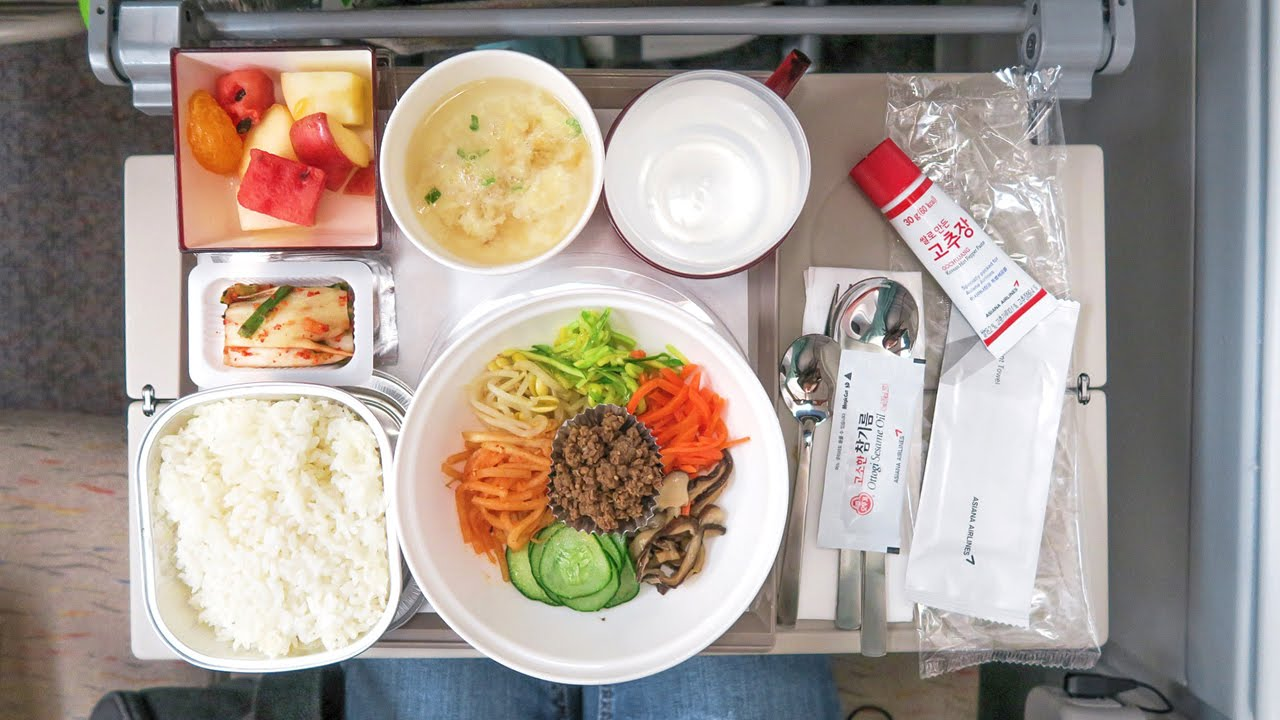 Korean airplane food bibimbap on asiana flight oz741 for Asiana korean cuisine restaurant racine