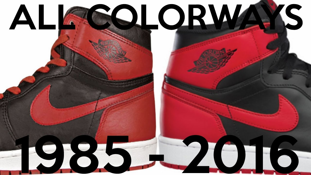 every air jordan 1 colorway ever made 1985 2016 v5 youtube