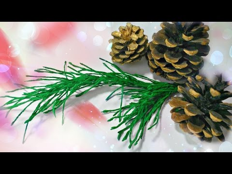 How to make pine branch DIY crepe paper Christmas tree craft ideas for kids easy tutorial