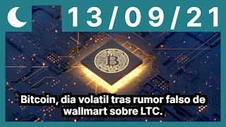 Bitcoin, dia volatil tras rumor falso de wallmart sobre LTC.