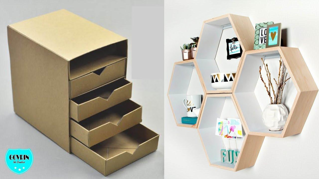 DIY CRAFTS FOR ROOM DECOR! CARDBOARD FURNITURE DIY Room Decorating Ideas