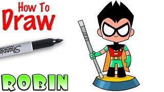 How to Draw Robin | Teeny Titans Go