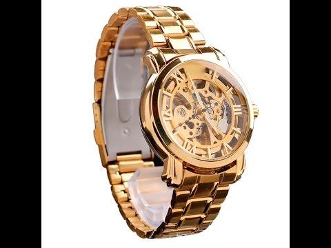 86ef499128d79 Web Vendas - Relógio Masculino Mce Inox Dourado Esqueleto Automático ...