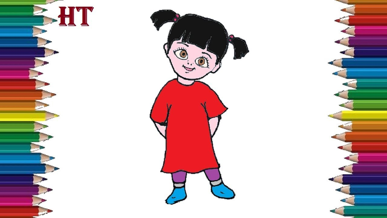 How To Draw Boo From Monsters Inc Boo Drawing And Coloring Pages Youtube