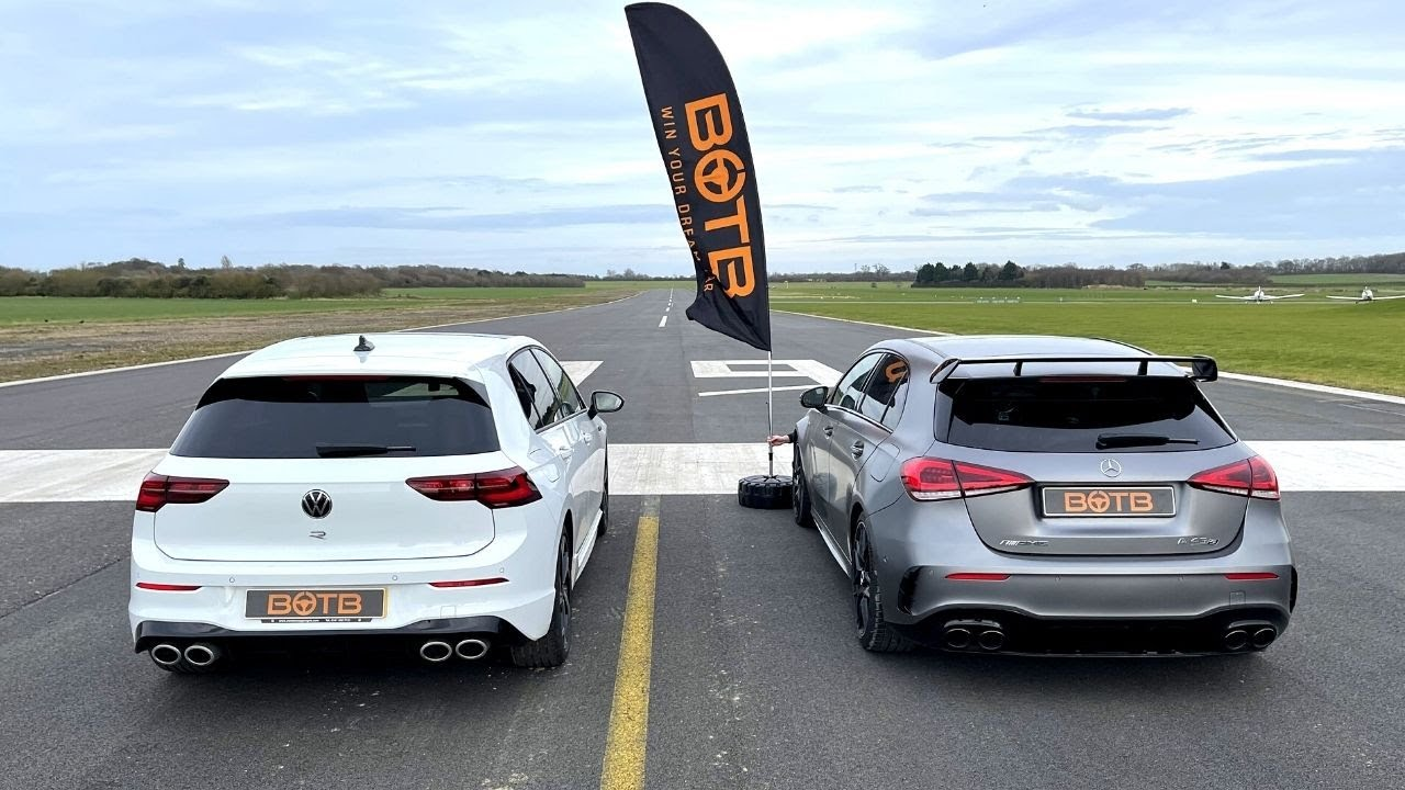 DRAG RACE! 2021 VW GOLF R VS MERCEDES-AMG A45 S!