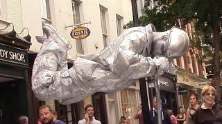 Download Silver man secret revealed London street performer, floating and levitating trick