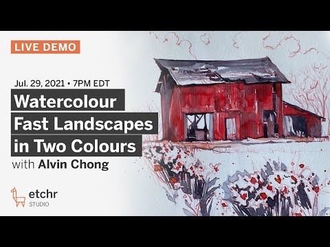 Alvin Chong :: Watercolour Fast Landscapes in Two Colours