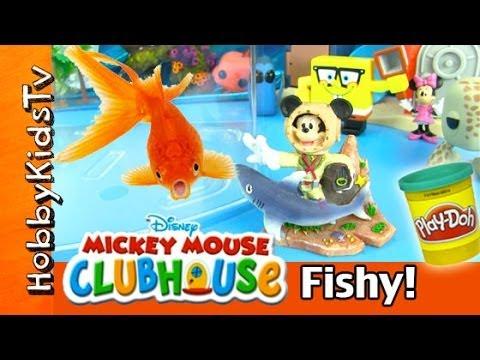 Mickey Mouse Dives In The Fish Tank! Surprise Sea Eggs With HobbyKidsTV