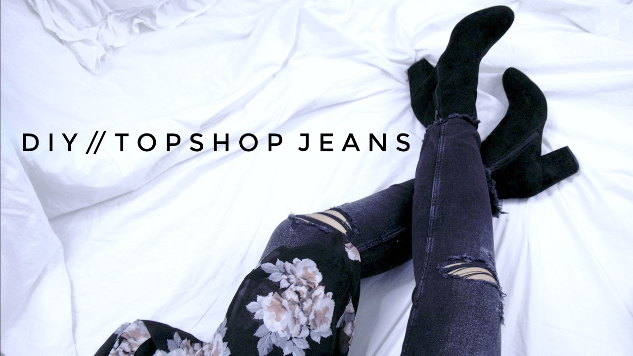 DIY TOPSHOP RIPPED KNEE JEANS - YouTube