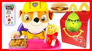 Paw Patrol Rubble Happy Meal at McDonald's with The Grinch and The Lego Movie 2 Toys