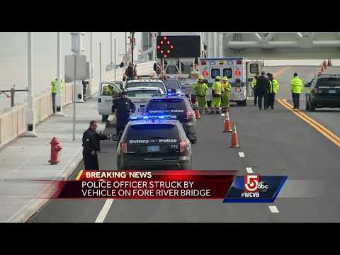 Police officer struck by vehicle on bridge