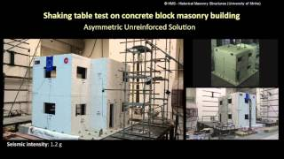 Shaking table test on concrete block masonry building: Asymmetric Unreinforced Solution