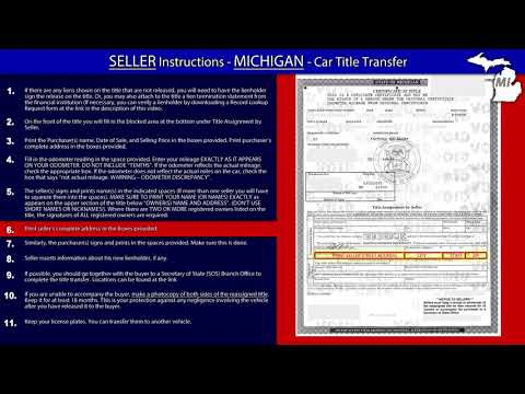 Michigan Title Transfer SELLER Instructions