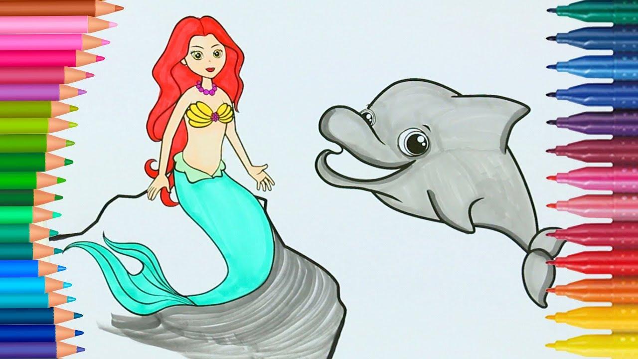 Kucuk Deniz Kizi Ariel Boyama Sayfasi Ile Renkleri Ogreniyorum