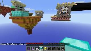 PopularMMOs Pat and Jen Minecraft OVERPOWERED LUCKY BLOCK BEDWARS!  Mini Game