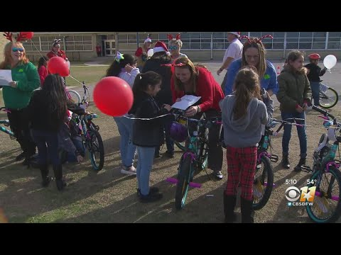 Secret Santa Brings Bikes To Fort Worth Elementary School Students