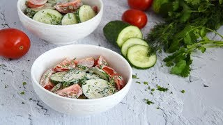 Салат из помидоров и огурцов с майонезом