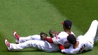 Bradley Zimmer and Jose Ramirez  collide on catch thumbnail