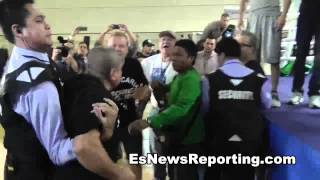 Freddie Roach Calls Robert Garcia a piece of shit during rios workout goes racist  - esnews